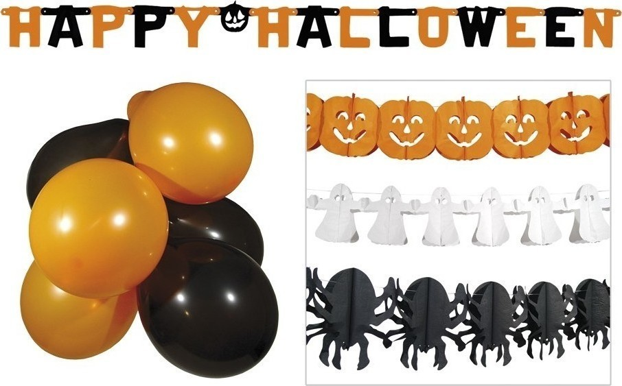 Set decoratiuni Halloween baloane si ghirlande
