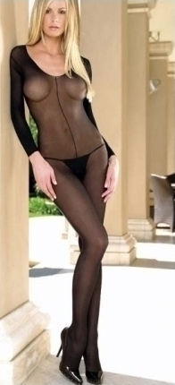 Catsuit Scoop Sheer - negru