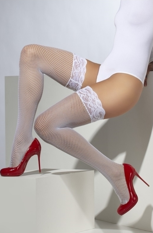 Ciorapi scurti Fishnet Hold-Ups albi
